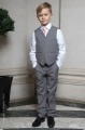 Boys Light Grey Trouser Suit with Pale Pink Tie - Thomas