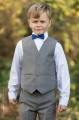Boys Light Grey Trouser Suit with Royal Blue Dickie Bow - Thomas