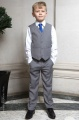 Boys Light Grey Trouser Suit with Royal Blue Tie - Thomas