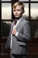 Boys Light Grey & Ivory Suit with Burgundy Tie - Tobias