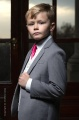 Boys Light Grey & Ivory Suit with Hot Pink Tie - Tobias
