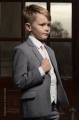Boys Light Grey & Ivory Suit with Pale Pink Tie - Tobias