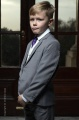 Boys Light Grey & Ivory Suit with Purple Tie - Tobias