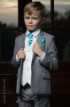 Boys Light Grey & Ivory Suit with Turquoise Cravat Set - Tobias