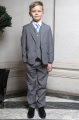 Boys Light Grey Jacket Suit with Sky Blue Tie - Perry