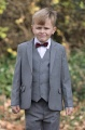 Boys Light Grey Jacket Suit with Burgundy Dickie Bow - Perry