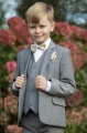 Boys Light Grey Suit with Champagne Bow & Hankie - Perry