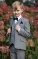 Boys Light Grey Suit with Purple Bow & Hankie - Perry