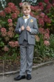 Boys Light Grey Suit with Gold Bow & Hankie - Perry