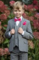 Boys Light Grey Suit with Hot Pink Bow & Hankie - Perry