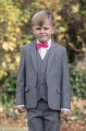 Boys Light Grey Jacket Suit with Hot Pink Dickie Bow - Perry
