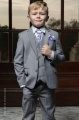 Boys Light Grey Jacket Suit with Lilac Cravat Set - Perry