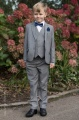Boys Light Grey Suit with Navy Bow & Hankie - Perry