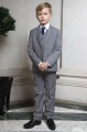 Boys Light Grey Jacket Suit with Navy Tie - Perry