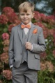 Boys Light Grey Suit with Orange Bow & Hankie - Perry