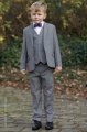Boys Light Grey Jacket Suit with Purple Dickie Bow - Perry