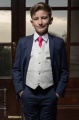 Boys Navy & Ivory Suit with Hot Pink Tie - Jaspar