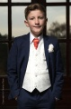 Boys Navy & Ivory Suit with Orange Cravat - Jaspar