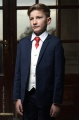 Boys Navy & Ivory Suit with Red Tie - Jaspar