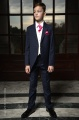 Boys Navy & Ivory Tail Suit with Hot Pink Cravat Set - Darcy