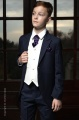 Boys Navy & Ivory Tail Suit with Purple Cravat Set - Darcy