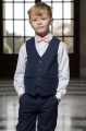 Boys Navy Shorts Suit with Baby Pink Dickie Bow - Leo