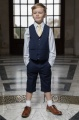 Boys Navy Shorts Suit with Gold Tie - Leo
