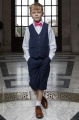 Boys Navy Shorts Suit with Hot Pink Dickie Bow - Leo