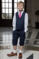 Boys Navy Shorts Suit with Hot Pink Tie - Leo