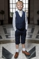 Boys Navy Shorts Suit with Ivory Tie - Leo
