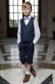 Boys Navy Shorts Suit with Lilac Dickie Bow - Leo