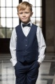 Boys Navy Shorts Suit with Navy Dickie Bow - Leo