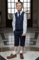 Boys Navy Shorts Suit with Navy Tie - Leo