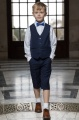 Boys Navy Shorts Suit with Royal Blue Dickie Bow - Leo