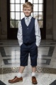 Boys Navy Shorts Suit with Silver Tie - Leo