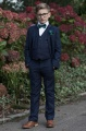 Boys Navy Suit with Forest Green Bow & Hankie - Stanley