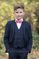 Boys Navy Suit with Hot Pink Dickie Bow - Stanley