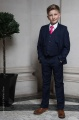 Boys Navy Suit with Hot Pink Tie - Stanley