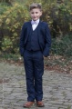 Boys Navy Suit with Lilac Dickie Bow - Stanley