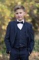 Boys Navy Suit with Navy Satin Dickie Bow - Stanley