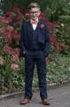 Boys Navy Suit with Orange Bow & Hankie - Stanley