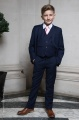 Boys Navy Suit with Baby Pink Tie - Stanley