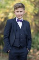 Boys Navy Suit with Purple Dickie Bow - Stanley