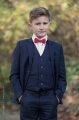 Boys Navy Suit with Red Dickie Bow - Stanley