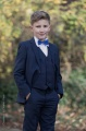 Boys Navy Suit with Royal Blue Dickie Bow - Stanley
