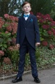 Boys Navy Tail Coat Suit with Peacock Dickie Bow Set - Edward