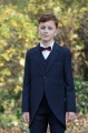 Boys Navy Tail Coat Suit with Burgundy Bow Tie - Edward