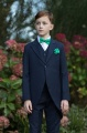 Boys Navy Tail Coat Suit with Emerald Green Dickie Bow Set - Edward