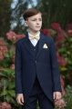 Boys Navy Tail Coat Suit with Gold Dickie Bow Set - Edward