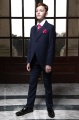 Boys Navy Tail Coat Suit with Hot Pink Cravat Set - Edward